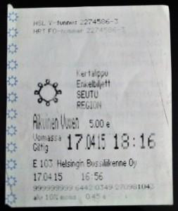 HSL HRT Helsinki Bus Ticket