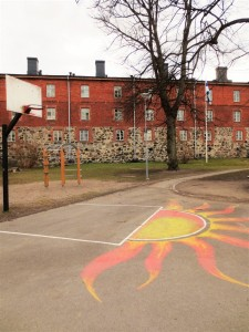 A school yard at Suomenlinna Island
