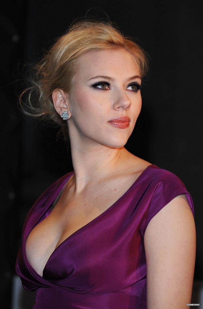 Scarlett Johansson in purple with glam make-up