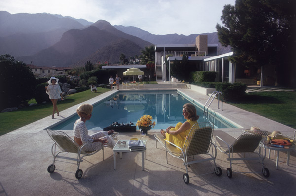 Lita Baron with Nelda Linsk and Helen Dzo Dzo at a house in Palm Springs in 1970
