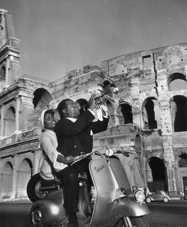 Lucille Brown and husband Louis Armsmall in Rome, 1949