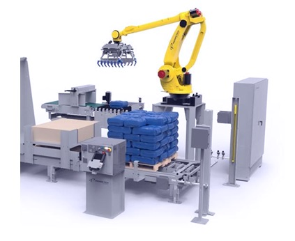 Робот-паллетайзер напоминает экскаватор