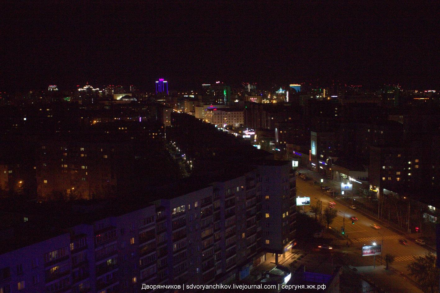 Из окна 19-го этажа в Маринс Парк Отель. Вид на ночной Новосибирск :)