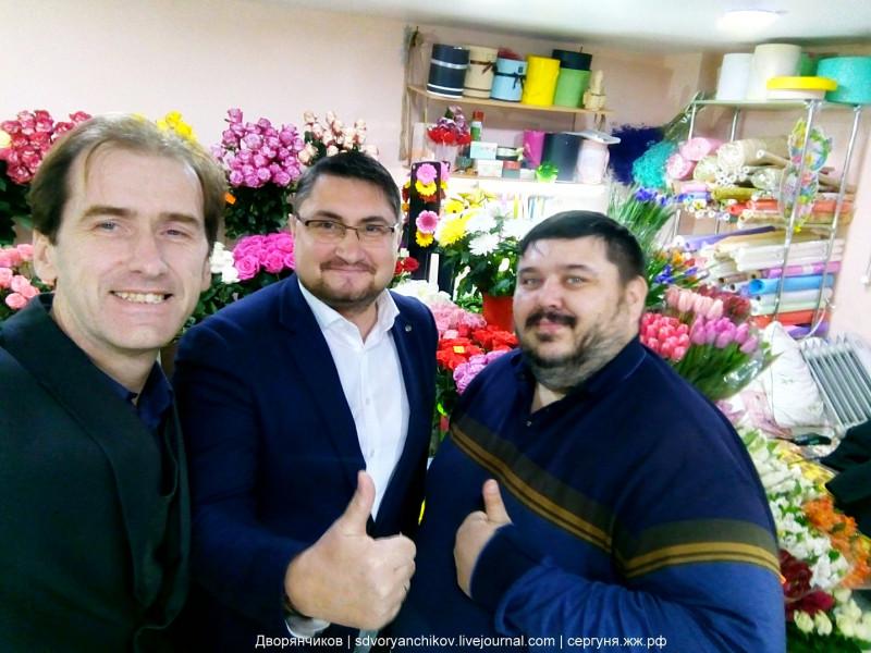 09 Алексей Ульянов, Виталий Барахтенко и Сергей Дворянчиков — на записи видео поздравления к 8 марта. 2018.