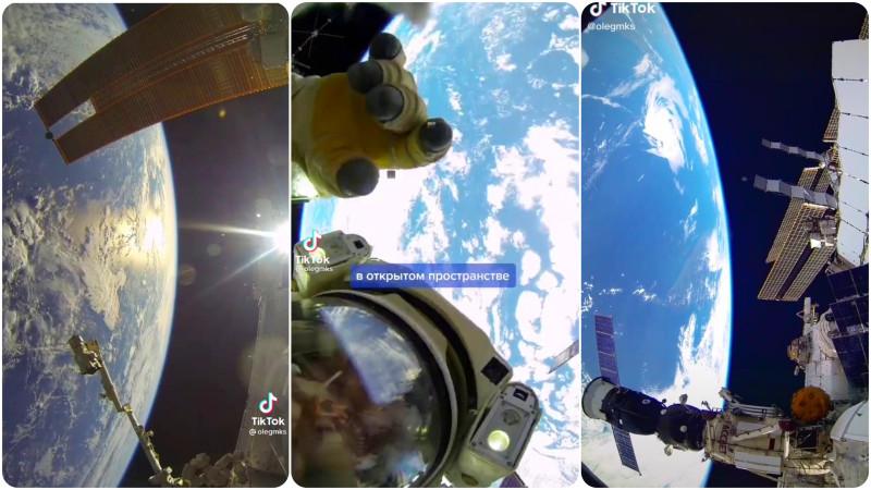 Коллаж скринов Tik Tok видео космонавта МКС Олега Артемьева @olegmks