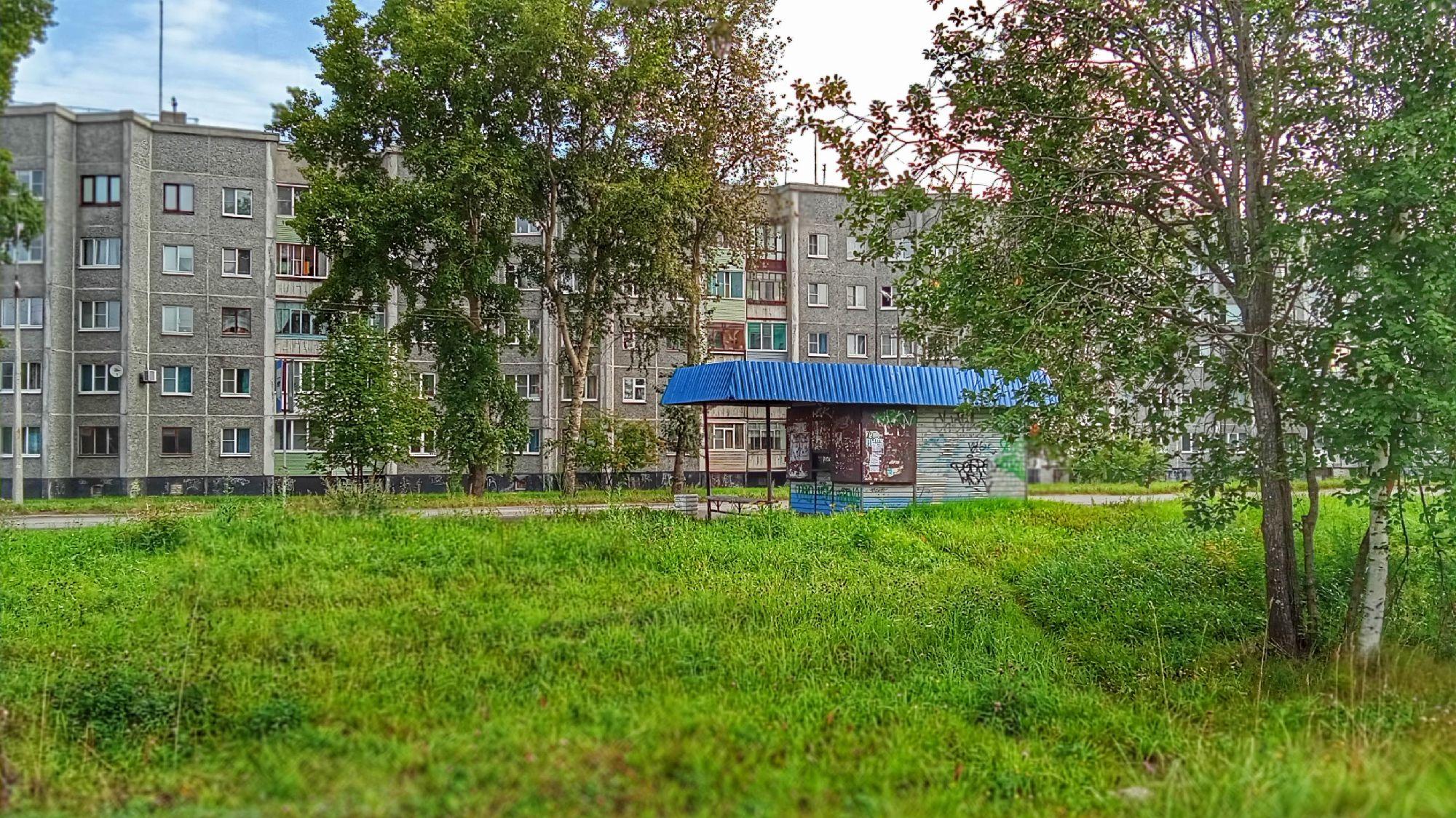 Коряжма. Остановка на пр.Ленина. 16 августа 2021