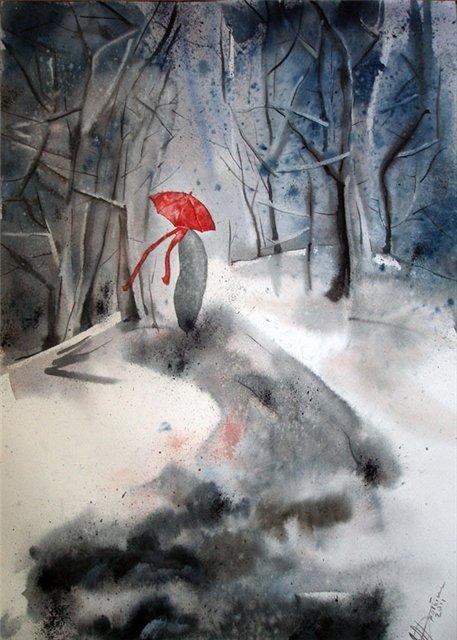 Дробышева Елена. Не первый снег... И красный зонт.