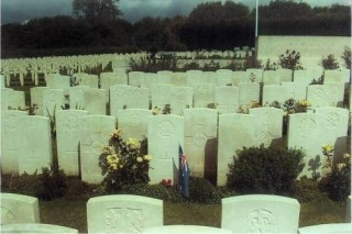 R. Maurice Stubbs grave - long view, Doullens Cemetery, France