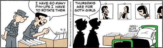 Beetle Bailey loves them Goth girls