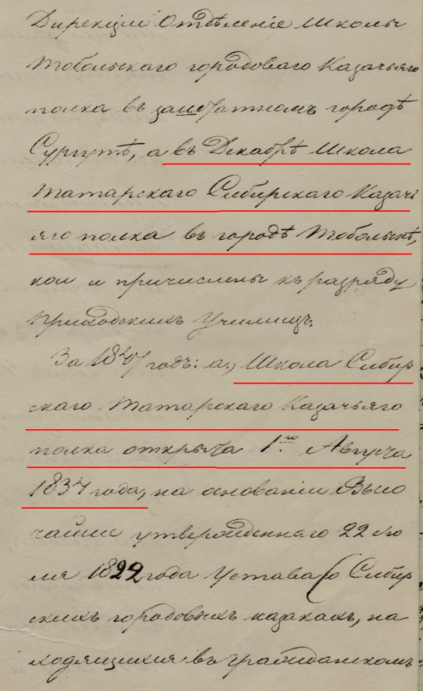 Открытие школы Сибирского татарского казачьего полка в 1834 году