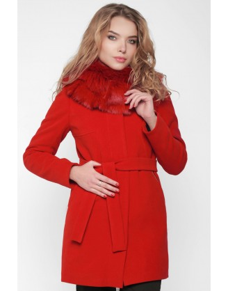зимнее женское красное пальто