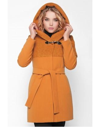 зимнее женское горчичное пальто