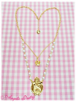 Angelic Pretty Chess Chocolate Emblem Necklace white
