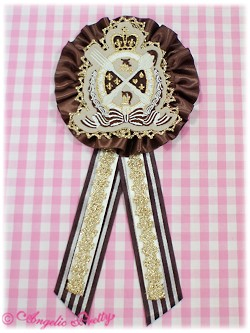 Angelic Pretty Royal Chocolate Badge Brooch ivory