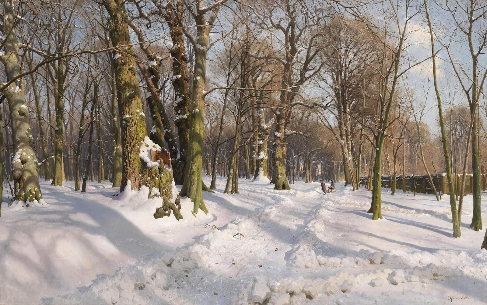 1908_Солнечный свет на заснеженной лесной дороге_120 x 200_х.,м._Частное собрание (1)