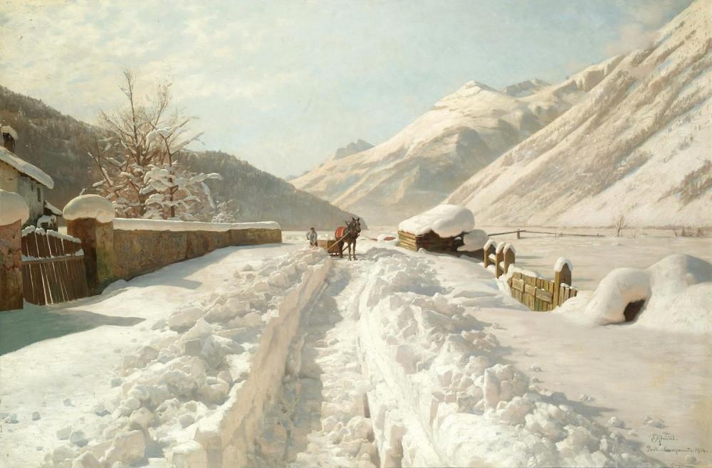 1914_Зима в Ponte Campovasto, Швейцария_80 х 120.5_х.,м._Частное собрание