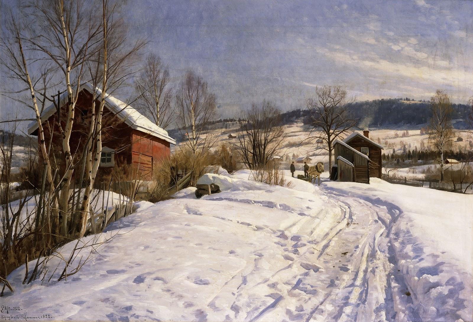1922_Зимний пейзаж в Лиллехаммере_60.5 х 101_х.,м._Частное собрание