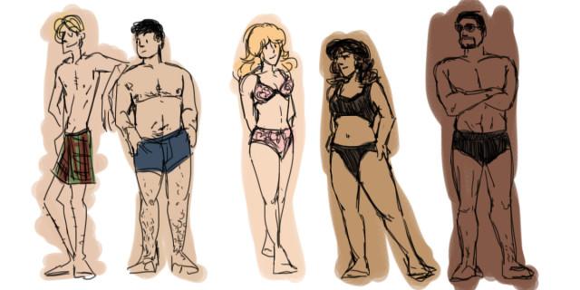 superheroes in their underwear