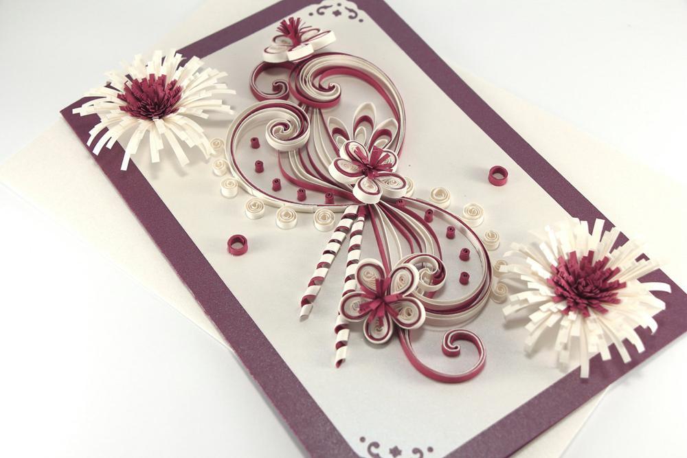 Для, открытка с квиллингом на свадьбу своими руками