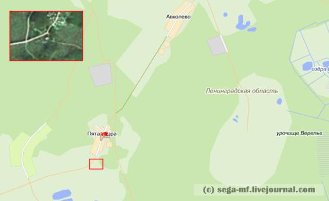 Карта деревни Пятая Гора с выделенным местоположением церкви Святой Троицы