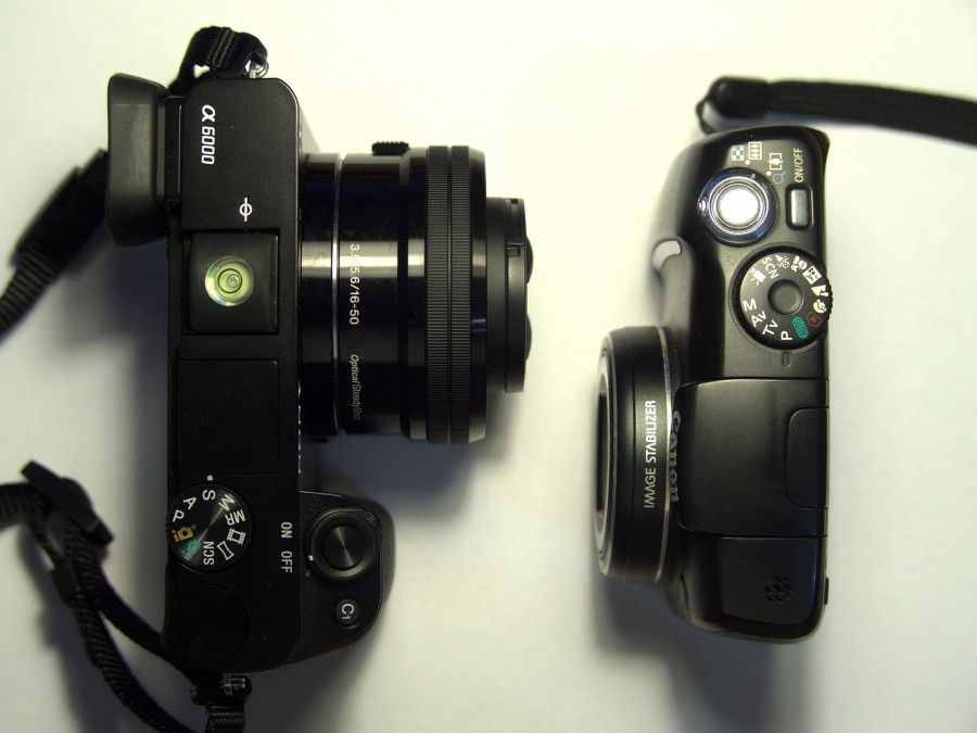 Canon Powershot SX110IS; Sony Alpha 6000-ILCE