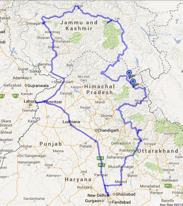 Гималаи карта маршрута