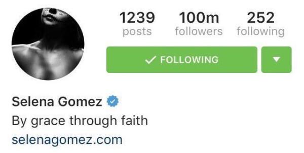 Selena Gomez reaches 100 Million followers on Instagram