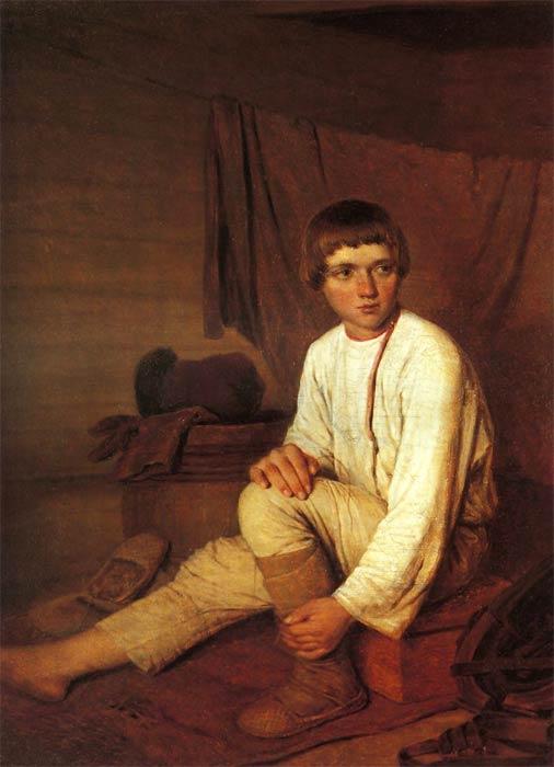 1  Венецианов А Г Крестьянский мальчик, надевающий лапти 1820-е годы.jpg