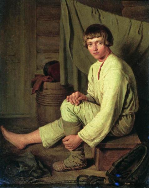 2  Зеленцов К А Мальчик-крестьянин, надевающий лапти Не позднее 1830.jpg