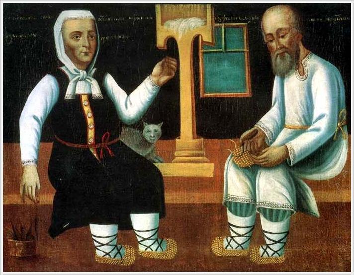 2  Неизвестный художник «Муж лапти плетет, жена нити прядет» (первая половина 19 века, автор неизвестен).jpg