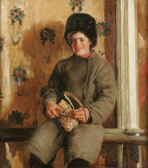 15   Рейнхард Амтсбюлер Русский, изготавливающий лапти 1918.PNG