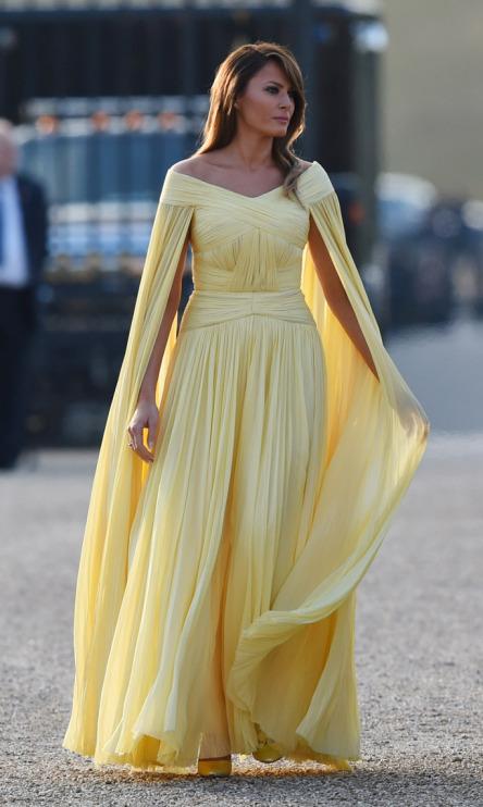 Melania Trump wears a J. Mendel dress on July 12, 2018 in London..jpg