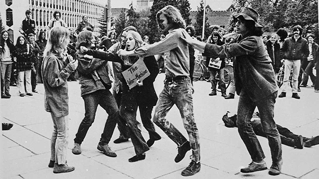 Geurrilla theatre performers on a Seattle college campus protesting the Vietnam War..jpg