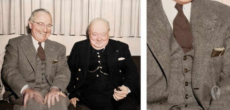 2  Truman in Barleycorn Suit with brown tie & pocket square with Churchill.jpg