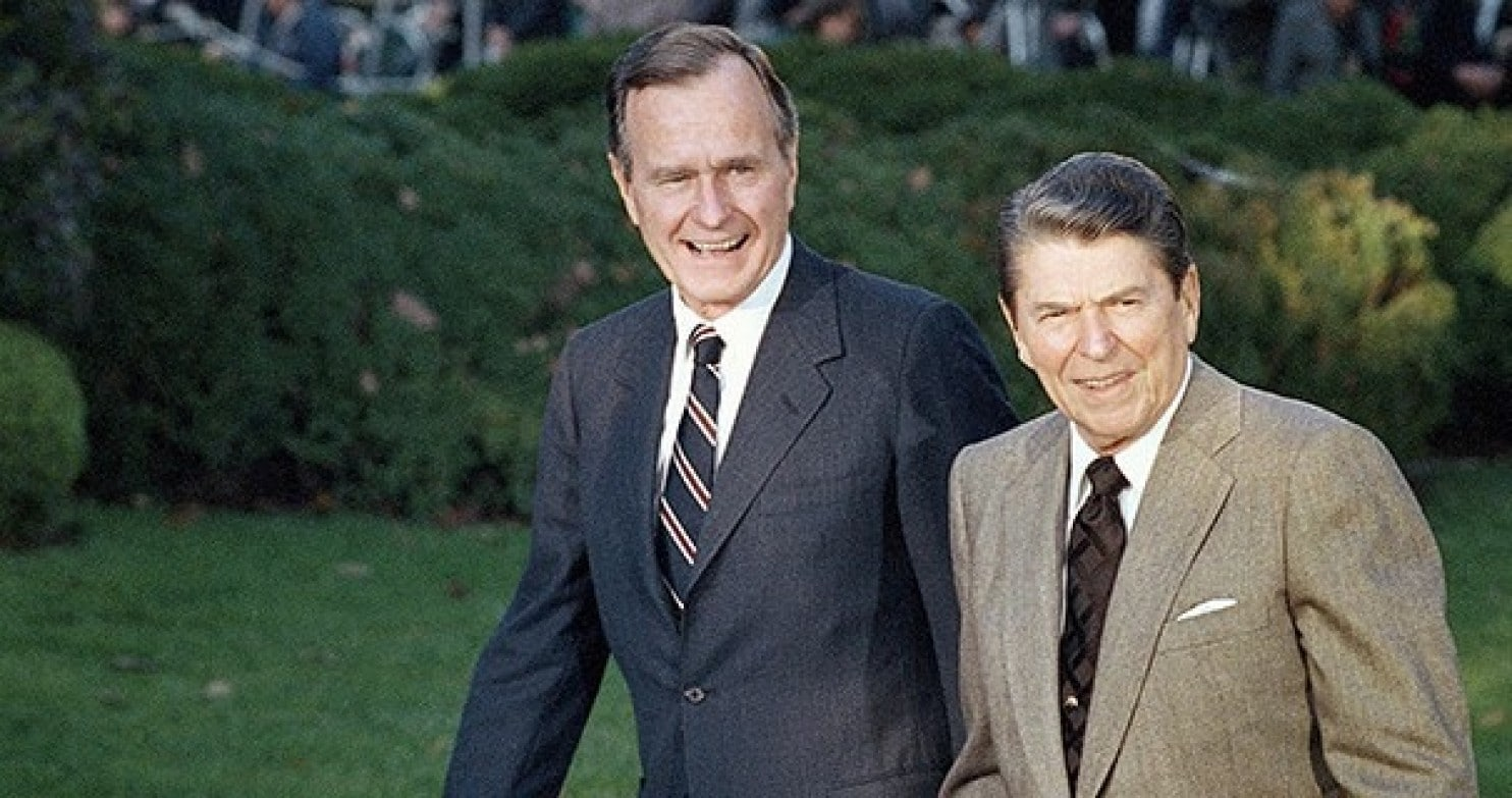 5 Reagan, pictured here with his vice president, George H.W. Bush, wore tan, too..jpg