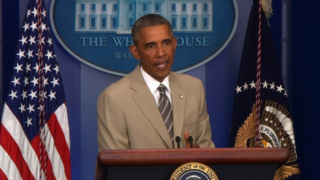 9 Obama 2014 President Barack Obama on Thursday took some questions in the White House press briefing room about serious subject matters - ISIS, Iraq…