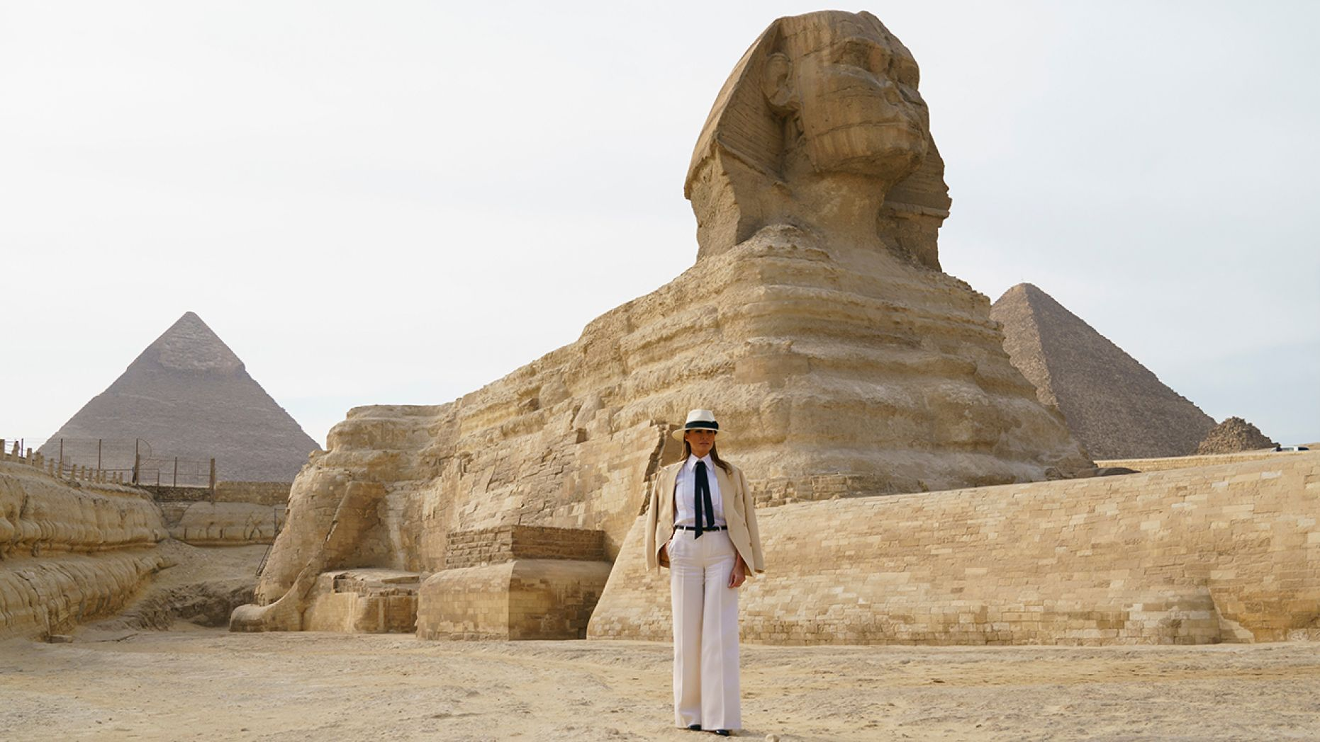 Day 6 First lady Melania Trump visits the ancient statue of Sphinx, with the body of a lion and a human head, at the historic site of Giza Pyramids i…