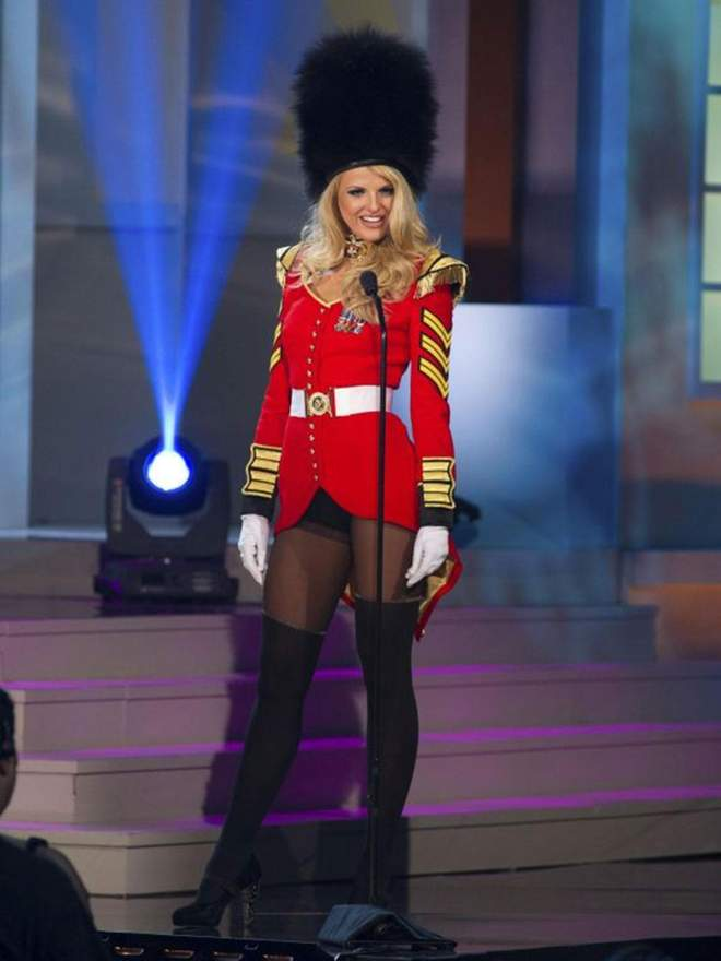 1  Miss Great Britain dressed with a Queen's Guard uniform.jpg
