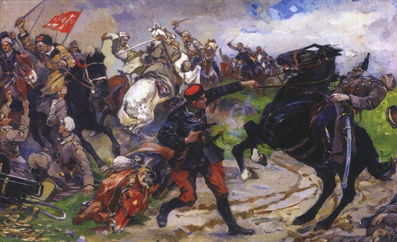 1929 Авилов М. И. Красный командир Дункевич в бою (1929 г.).jpg