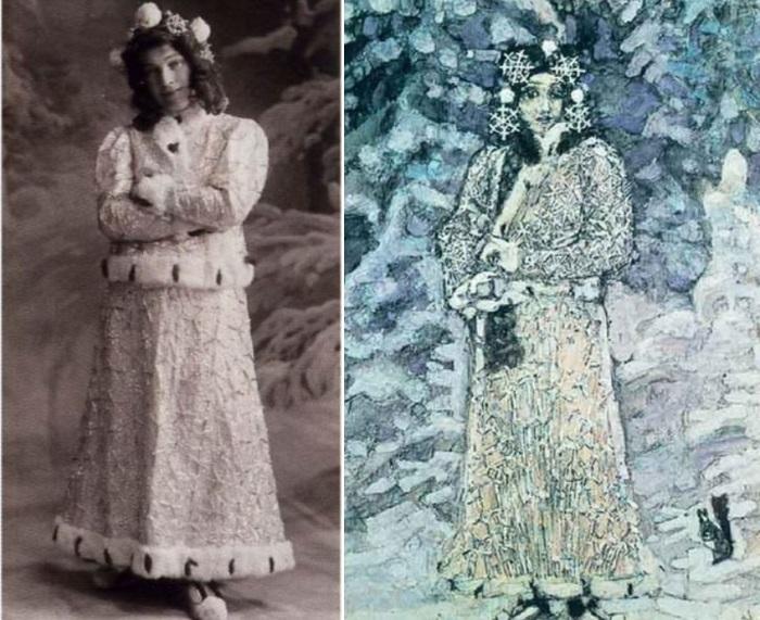 1890  Слева – Н. И. Забела-Врубель в роли Снегурочки. Справа – М. Врубель. Снегурочка, 1890.jpg