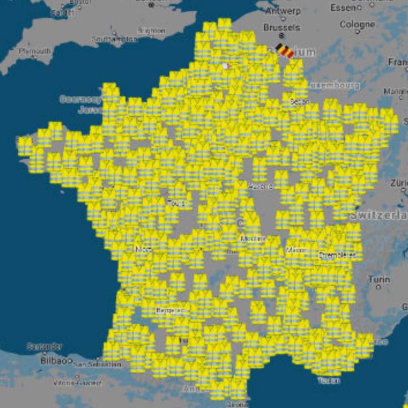 Карта перекрытий дорог протестующими во Франции..jpg