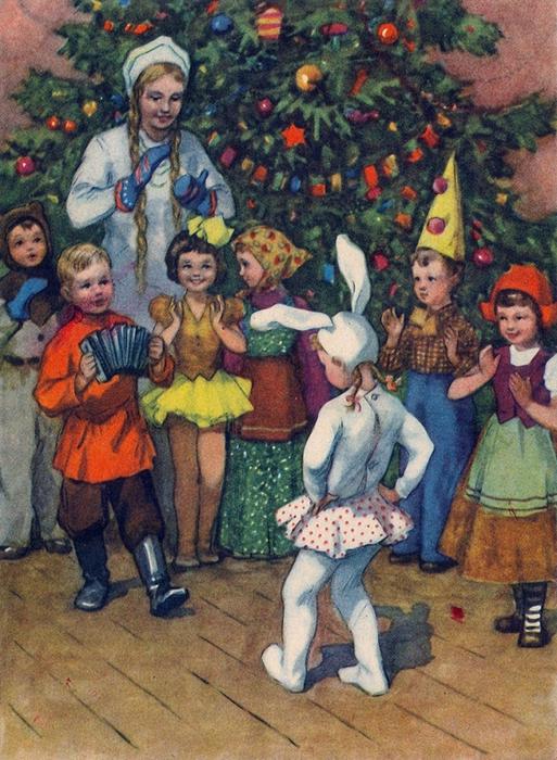 1955 Рыбченкова Лора Борисовна род. 1928 Новогодний праздник. 1955 г..jpg