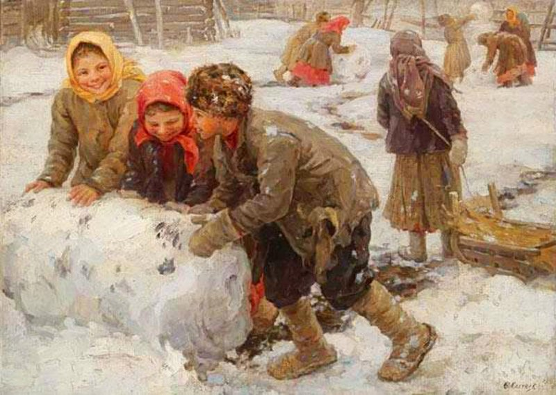 Федот Сычков Лепка снеговика        1910 г..jpg