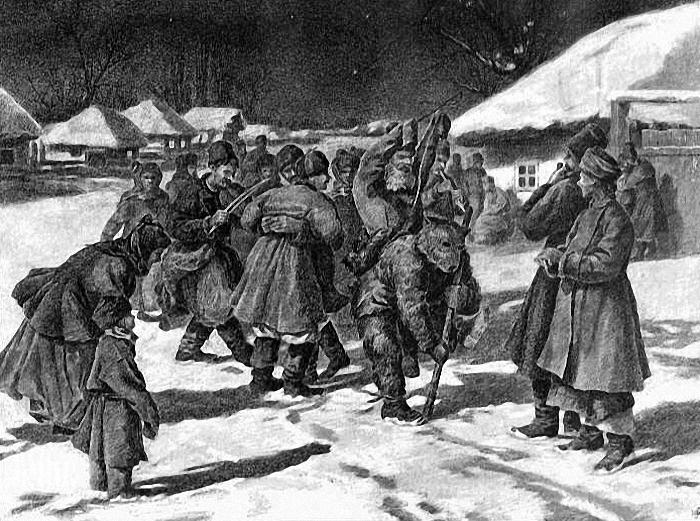 1896 Ткаченко Николай Иванович (1866-1920) Ряженые в Малороссии. Рисунок из журнала Всемирная иллюстрация 1896.jpg