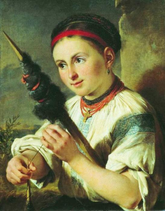 1820-e Тропинин Василий Андреевич   Пряха 1820-е Государственная Третьяковская галерея.jpg