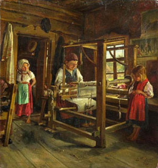 1886  Маковский Владимир Егорович (1846-1920) «Ткачиха с внучками» 1886.jpg