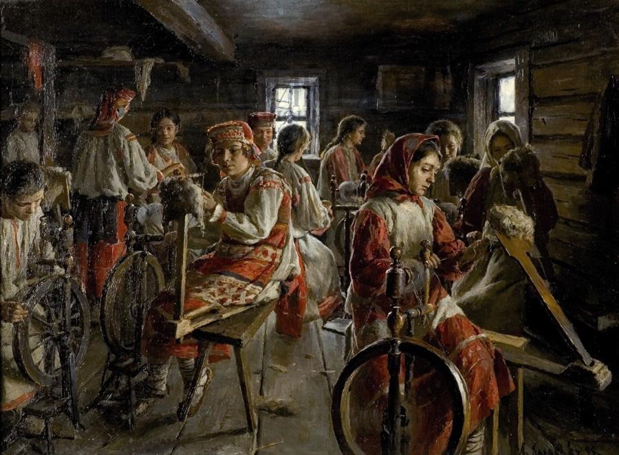1899  Казаков  Иван Семёнович «Пряхи», 1899 год Частное собрание.jpg