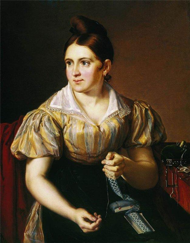1830  Василий Тропинин Девушка за прошивками. 1830 г..jpg