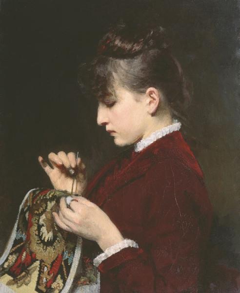 1887 Юлий Яковлевич Леман (1834 - 1901). За рукодельем. 1887..jpg