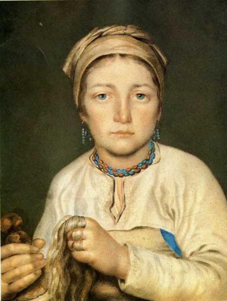 1822 Венецианов Алексей Гаврилович  Крестьянка, расчесывающая лен (Анисья), 1822.jpg